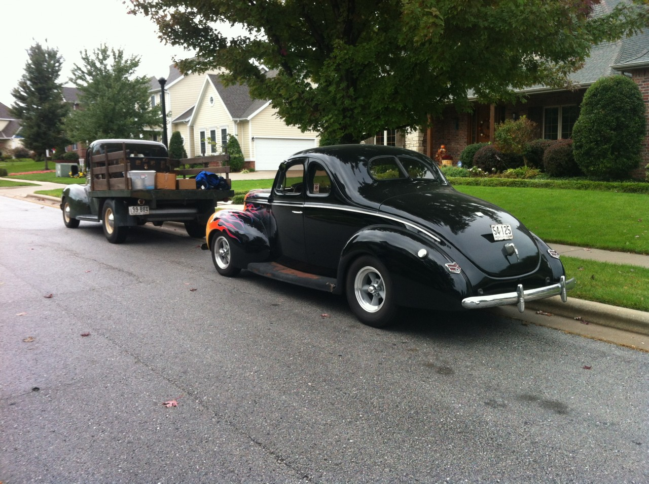 Both '40s out of the garage at the same time!