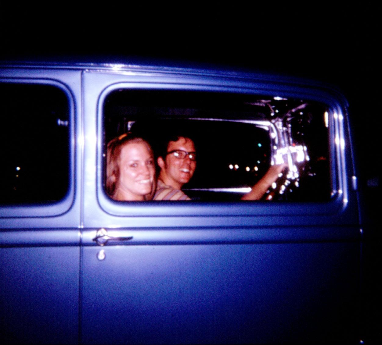 Dave Conrad and his date, in his '32 sedan.