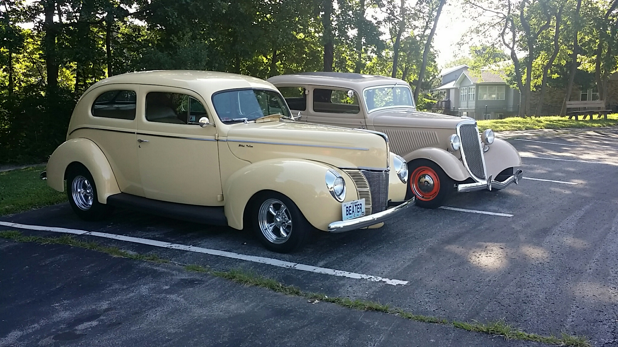 Randy Meierhoffer built Dad's '34 back in the '60's.  Here's Randy's '40 Deluxe Sedan parked next to the '34.